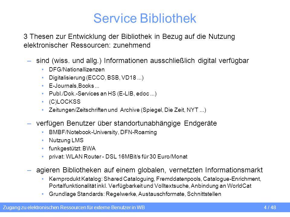 Service Bibliothek 3 Thesen zur Entwicklung der Bibliothek in Bezug auf die Nutzung elektronischer Ressourcen: zunehmend.