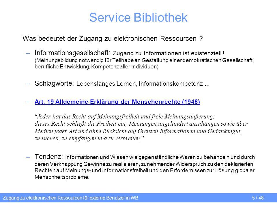 Service Bibliothek Was bedeutet der Zugang zu elektronischen Ressourcen
