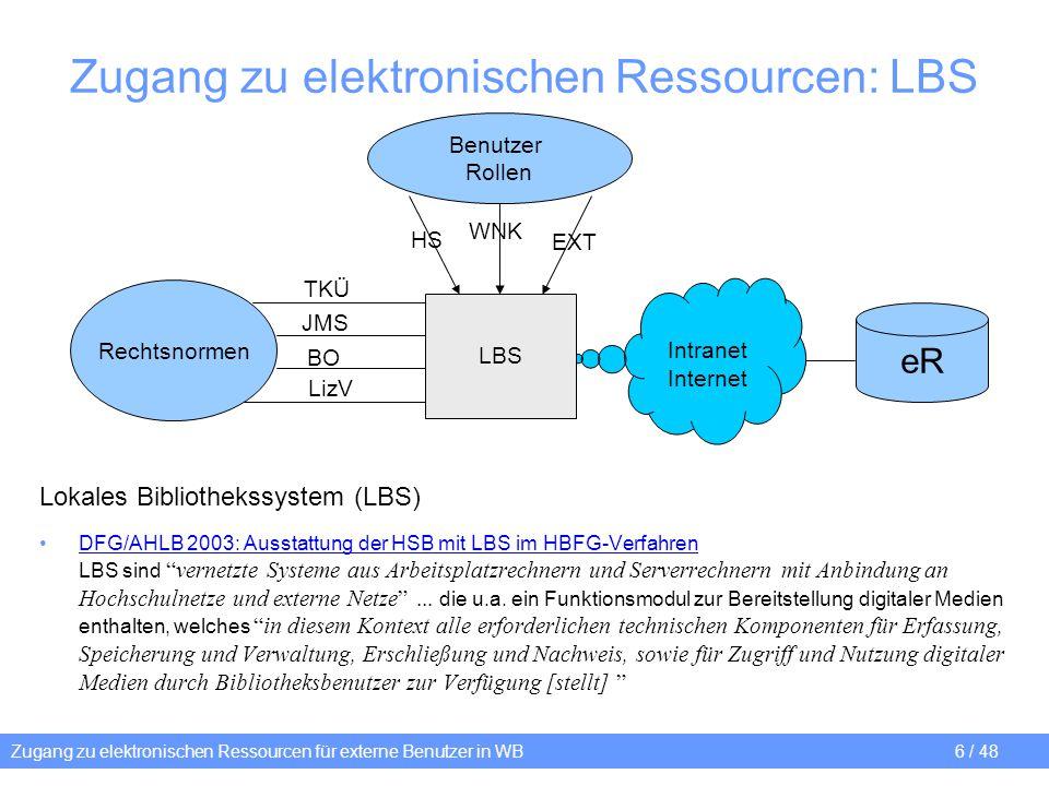 Zugang zu elektronischen Ressourcen: LBS