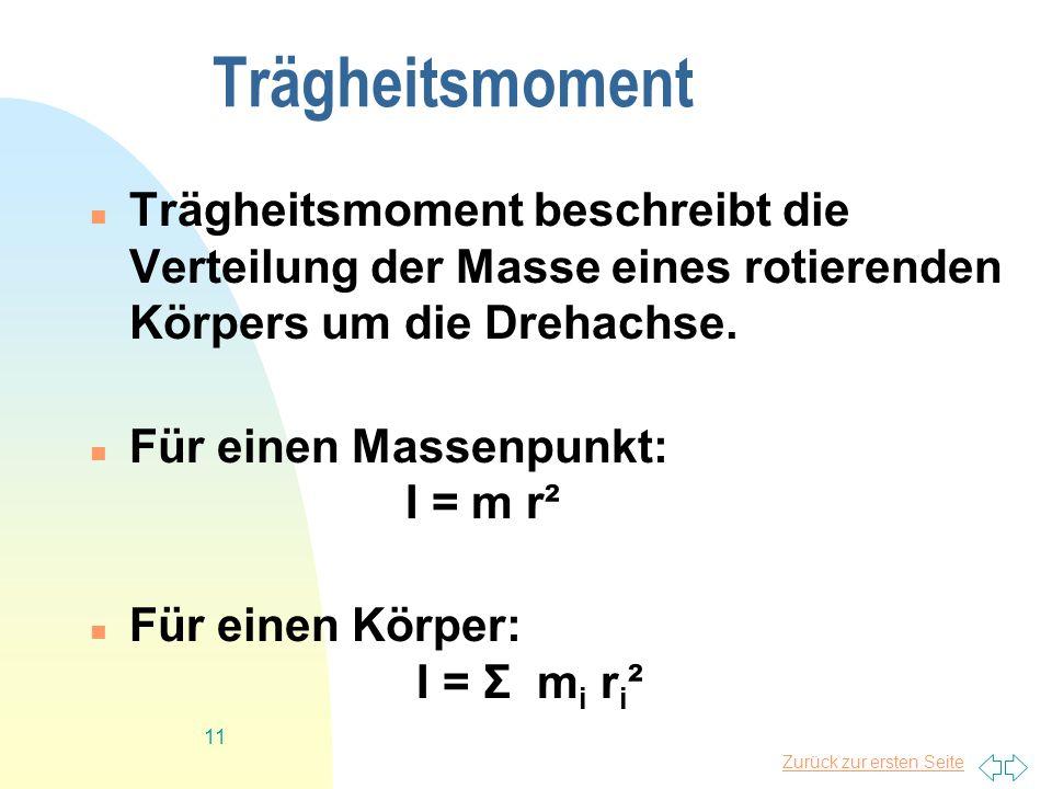 Trägheitsmoment Trägheitsmoment beschreibt die Verteilung der Masse eines rotierenden Körpers um die Drehachse.