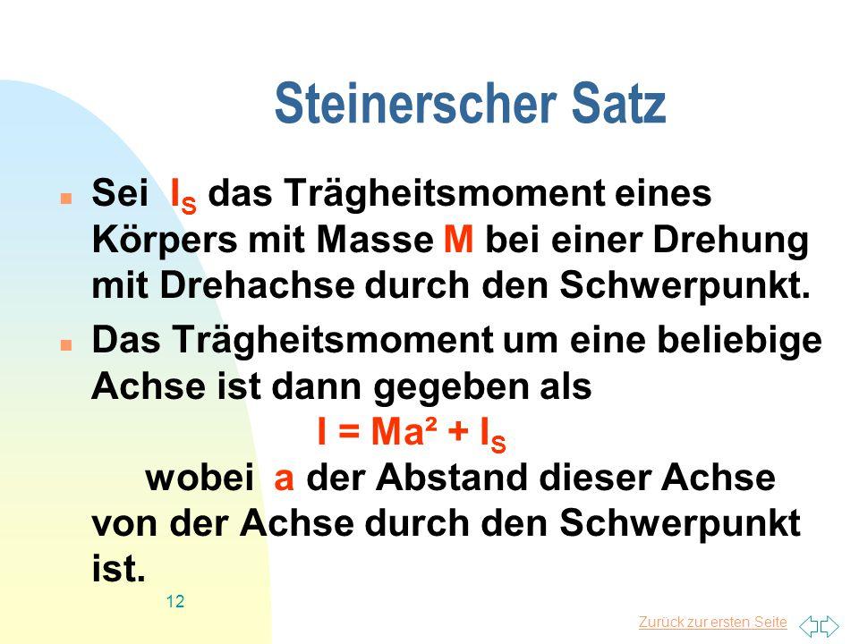 Steinerscher Satz Sei IS das Trägheitsmoment eines Körpers mit Masse M bei einer Drehung mit Drehachse durch den Schwerpunkt.
