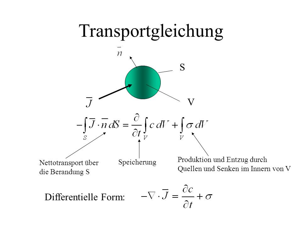 Transportgleichung S V Differentielle Form:
