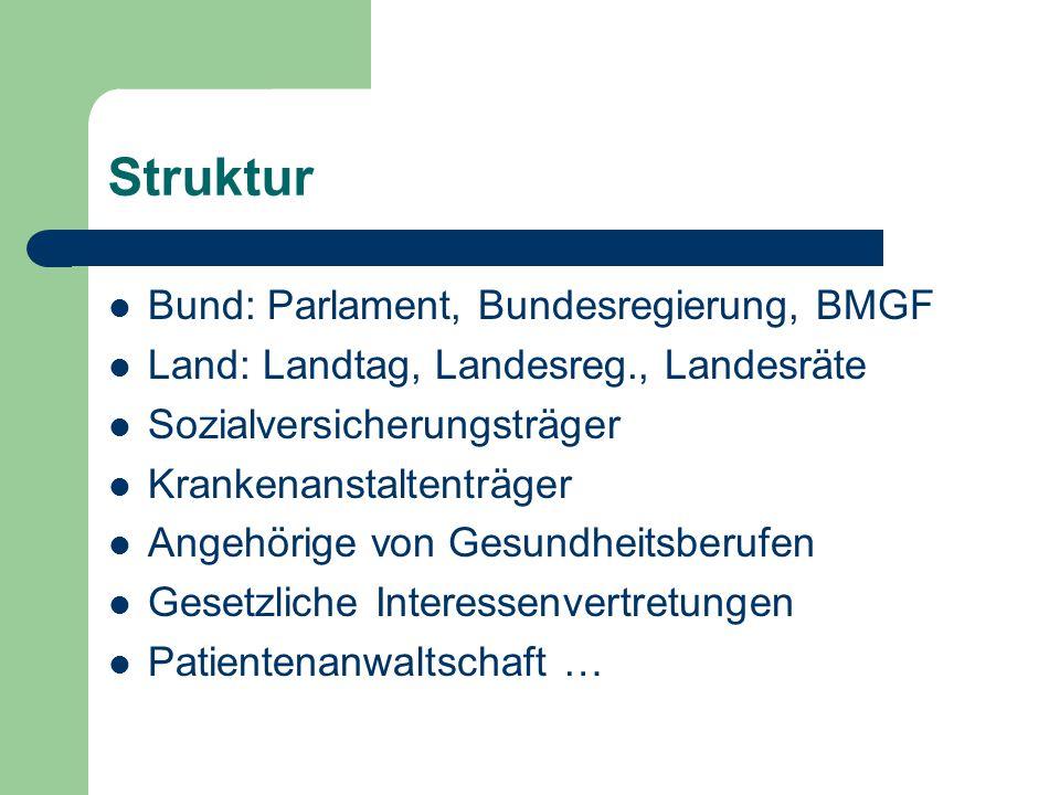Struktur Bund: Parlament, Bundesregierung, BMGF