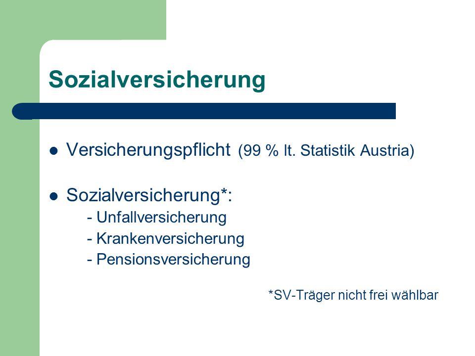 Sozialversicherung Versicherungspflicht (99 % lt. Statistik Austria)