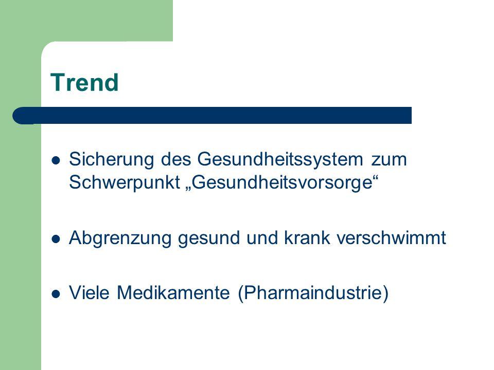 """Trend Sicherung des Gesundheitssystem zum Schwerpunkt """"Gesundheitsvorsorge Abgrenzung gesund und krank verschwimmt."""