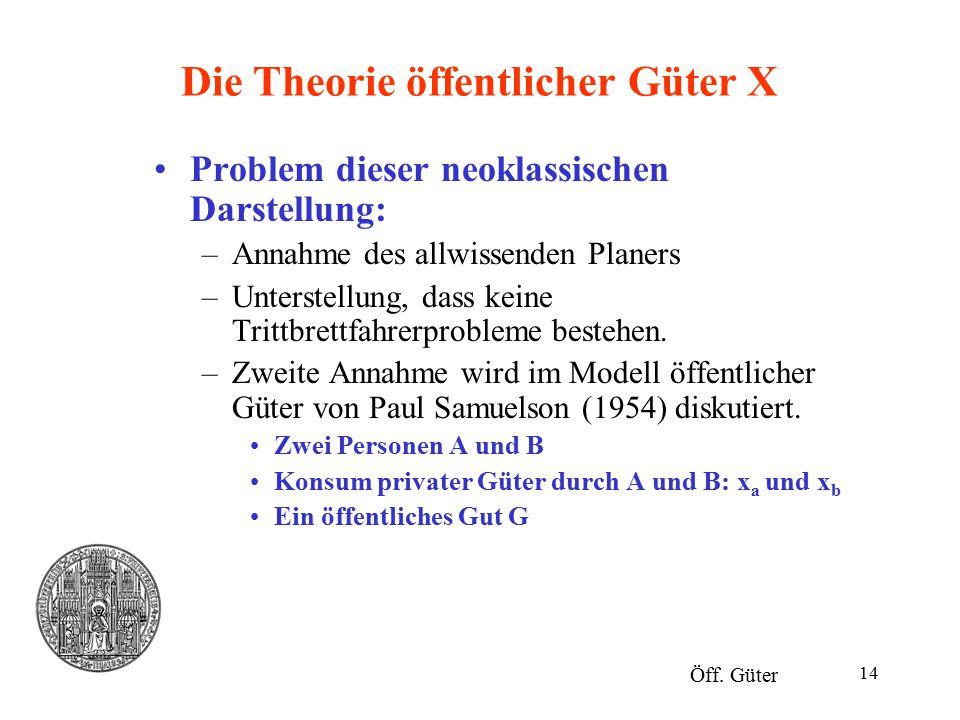 Die Theorie öffentlicher Güter X