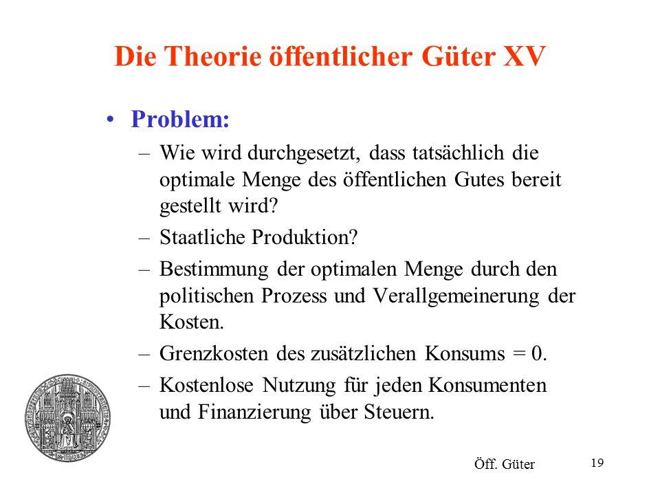 Die Theorie öffentlicher Güter XV