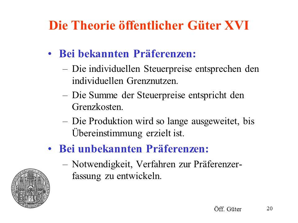 Die Theorie öffentlicher Güter XVI