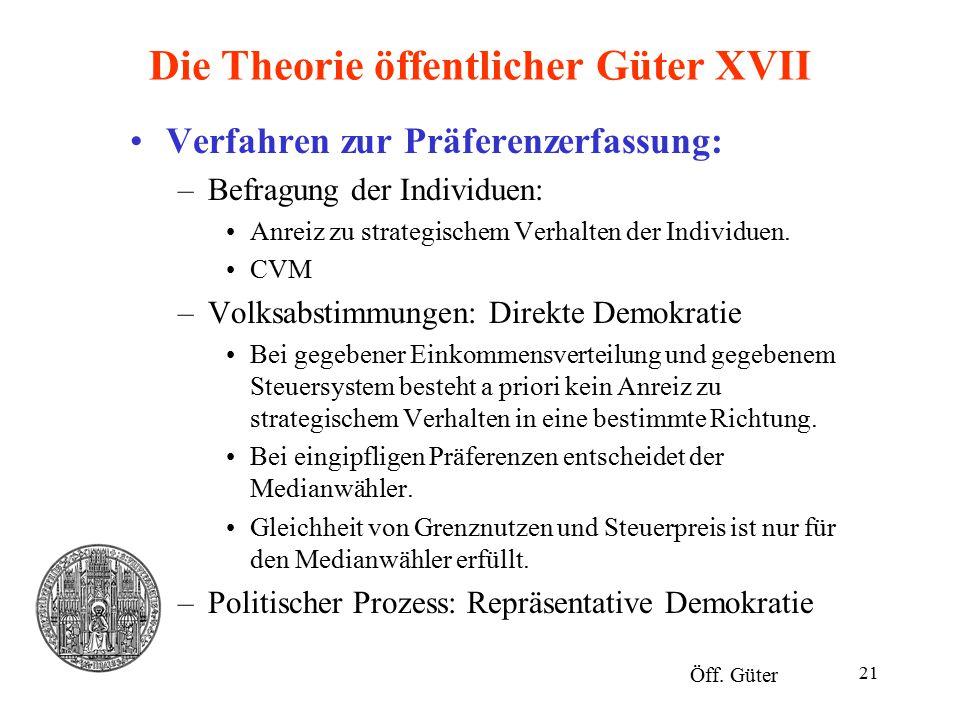 Die Theorie öffentlicher Güter XVII