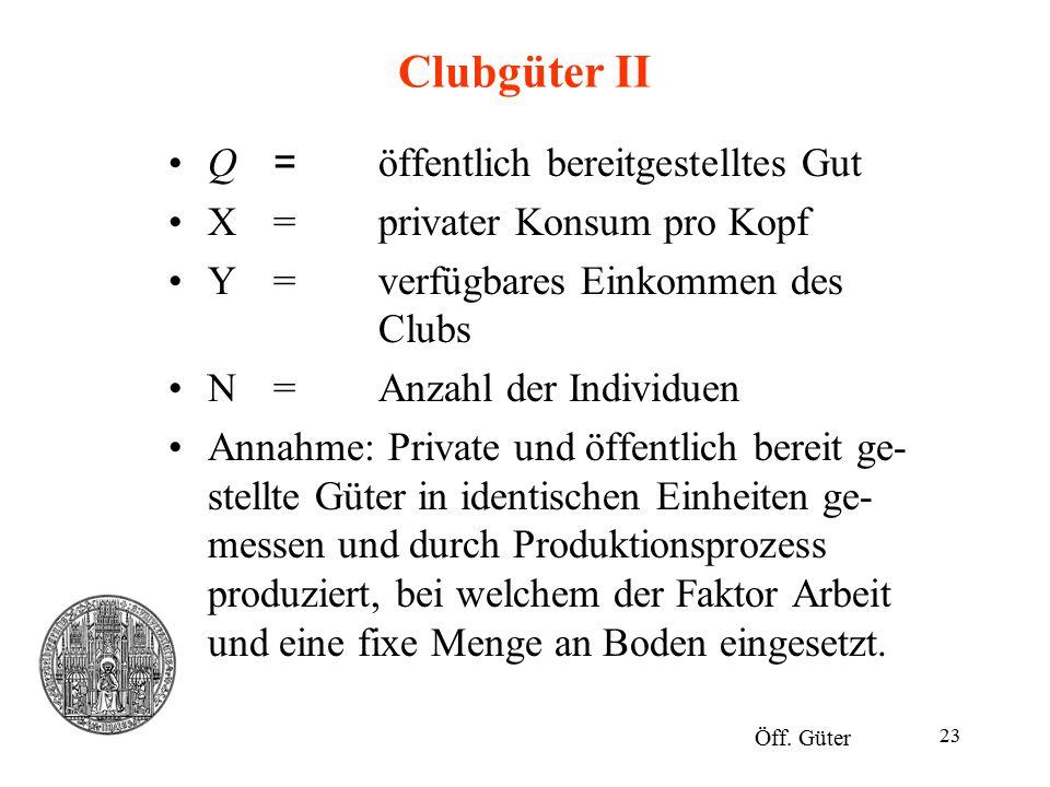 Clubgüter II Q = öffentlich bereitgestelltes Gut
