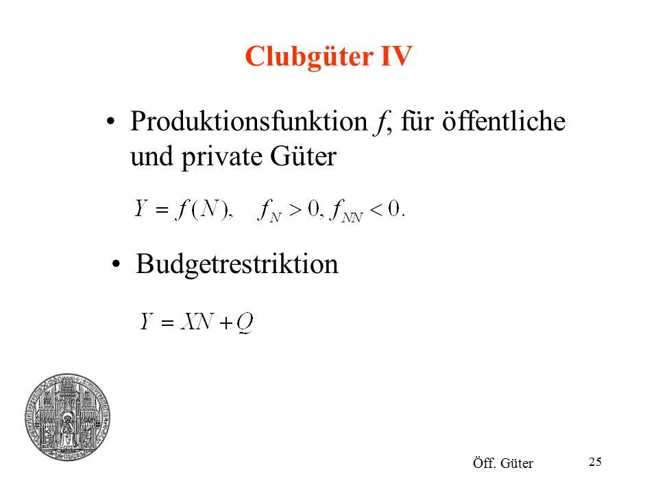 Produktionsfunktion f, für öffentliche und private Güter