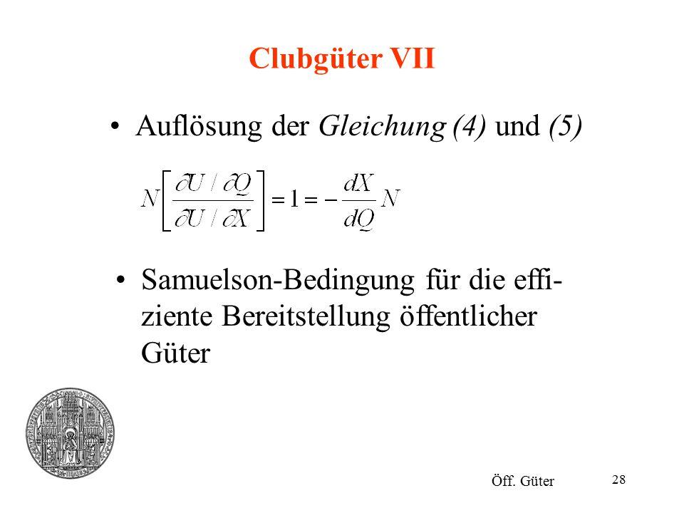 Auflösung der Gleichung (4) und (5)