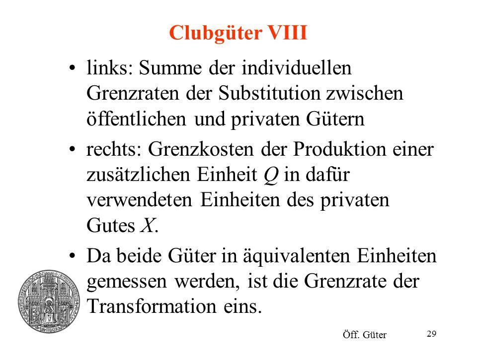 Clubgüter VIII links: Summe der individuellen Grenzraten der Substitution zwischen öffentlichen und privaten Gütern.