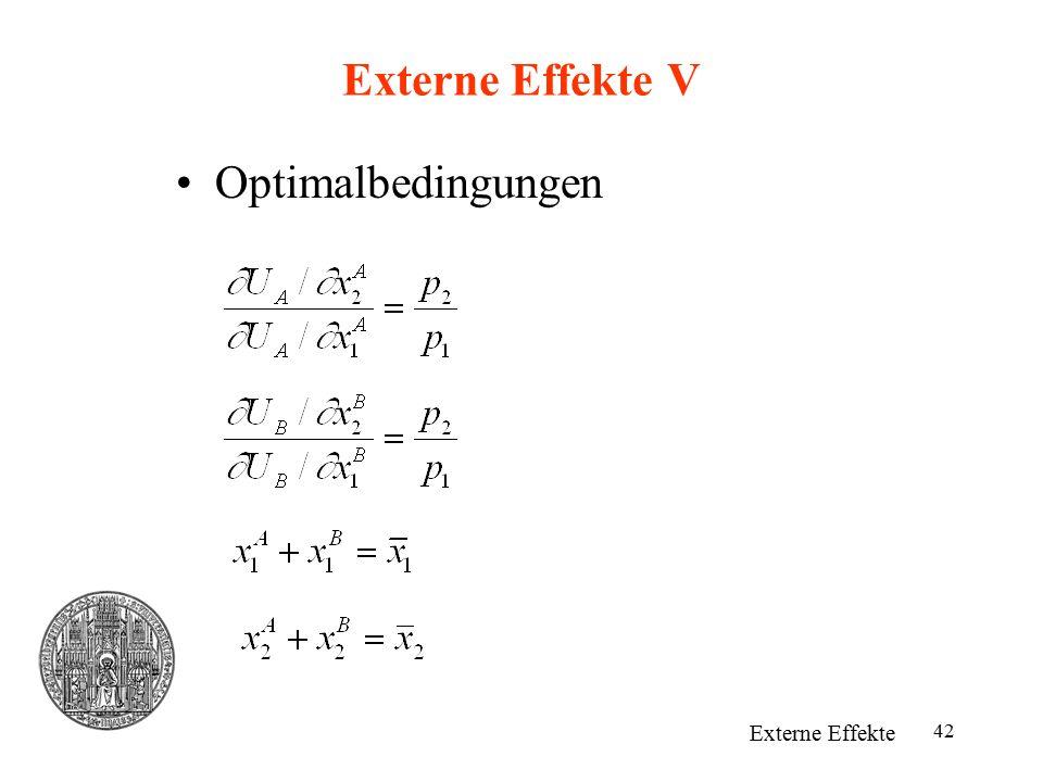 Externe Effekte V Optimalbedingungen Externe Effekte