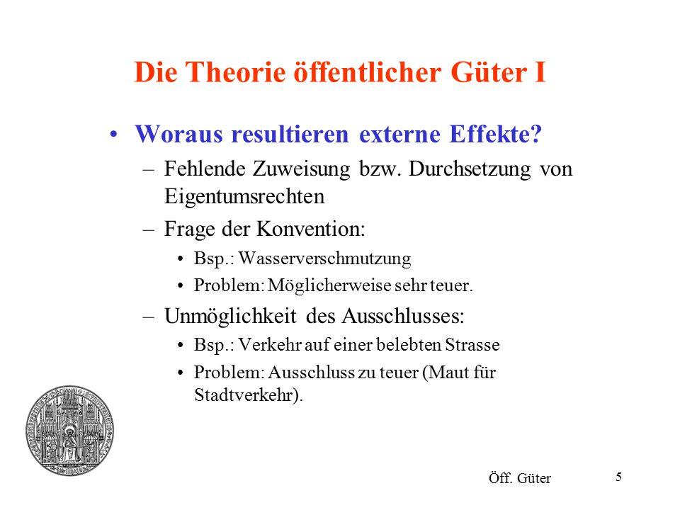 Die Theorie öffentlicher Güter I