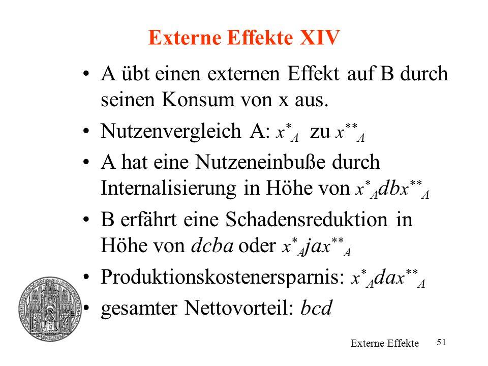 A übt einen externen Effekt auf B durch seinen Konsum von x aus.