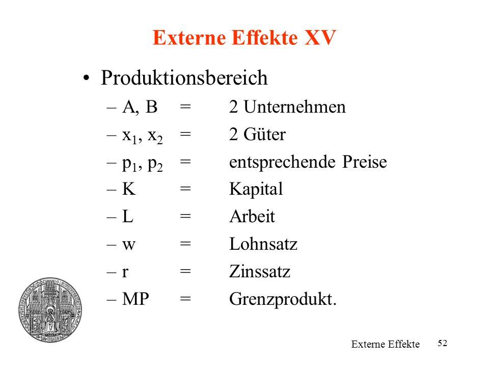 Externe Effekte XV Produktionsbereich A, B = 2 Unternehmen