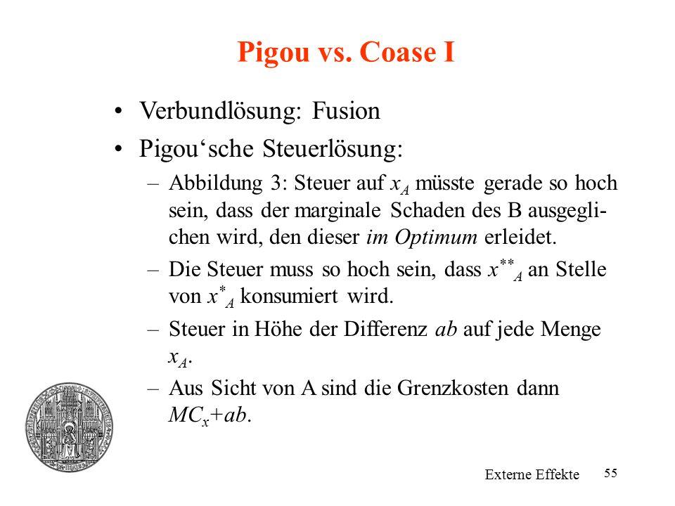 Pigou vs. Coase I Verbundlösung: Fusion Pigou'sche Steuerlösung: