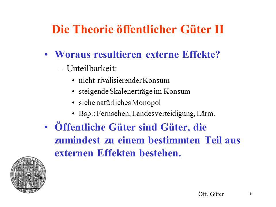 Die Theorie öffentlicher Güter II