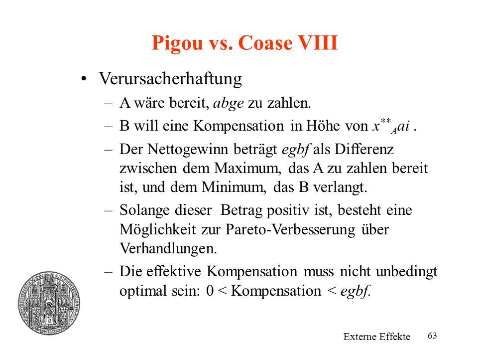 Pigou vs. Coase VIII Verursacherhaftung A wäre bereit, abge zu zahlen.