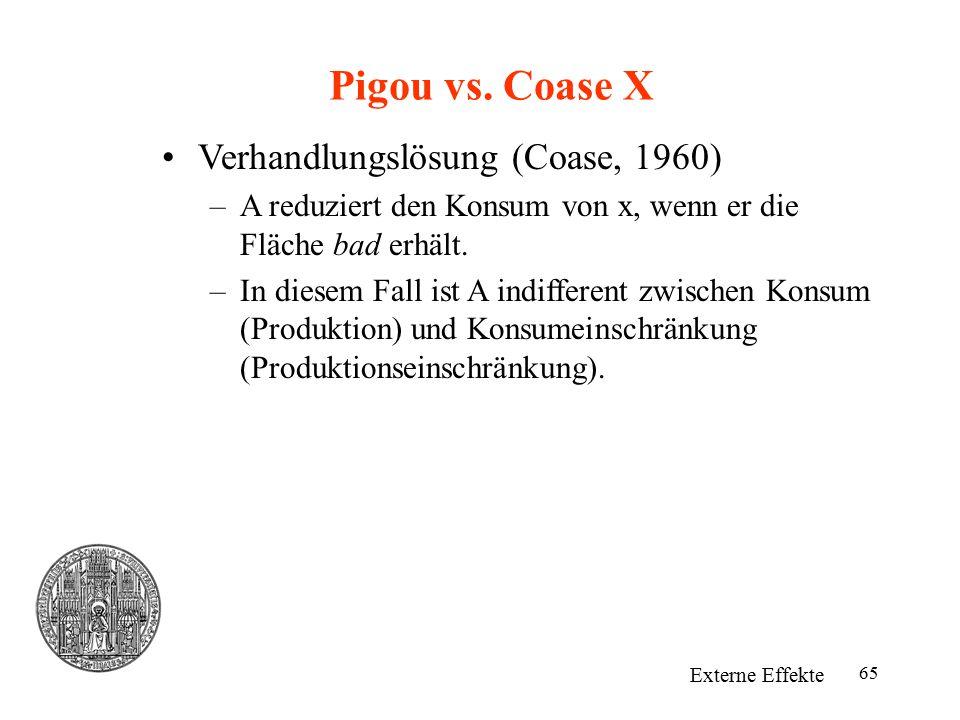 Pigou vs. Coase X Verhandlungslösung (Coase, 1960)