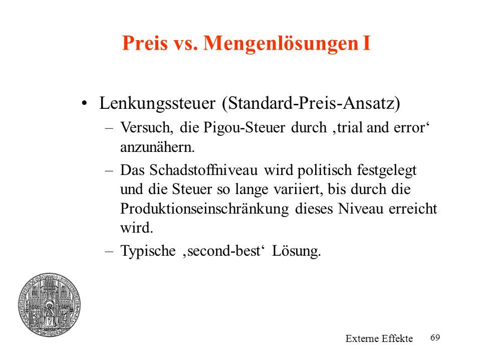 Preis vs. Mengenlösungen I