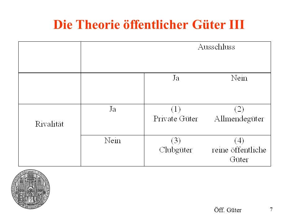 Die Theorie öffentlicher Güter III