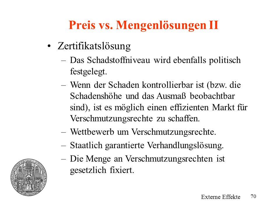 Preis vs. Mengenlösungen II