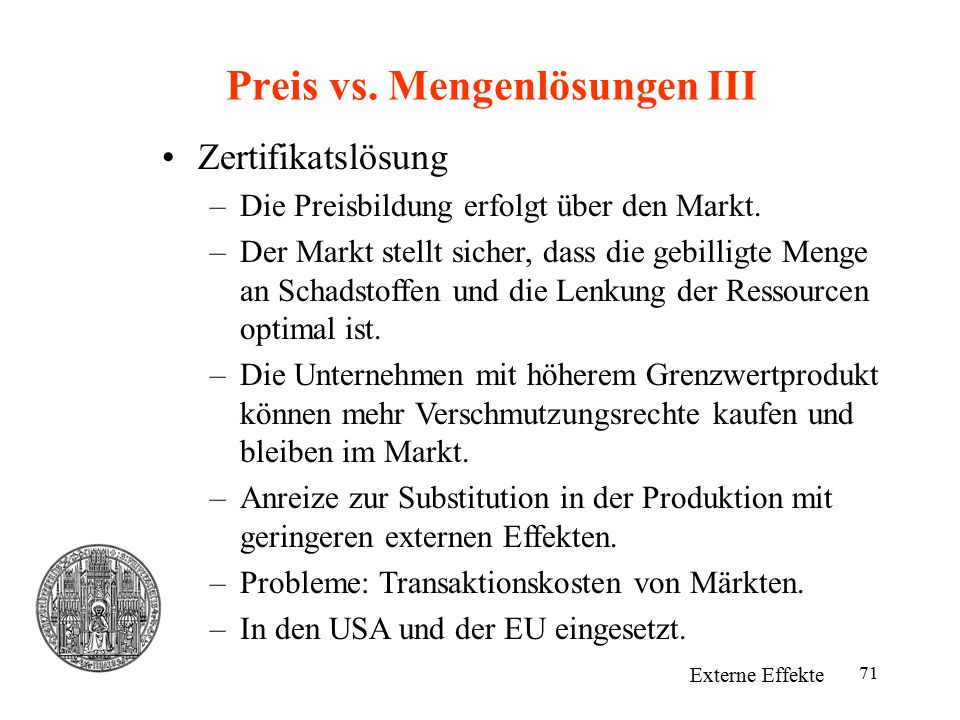 Preis vs. Mengenlösungen III