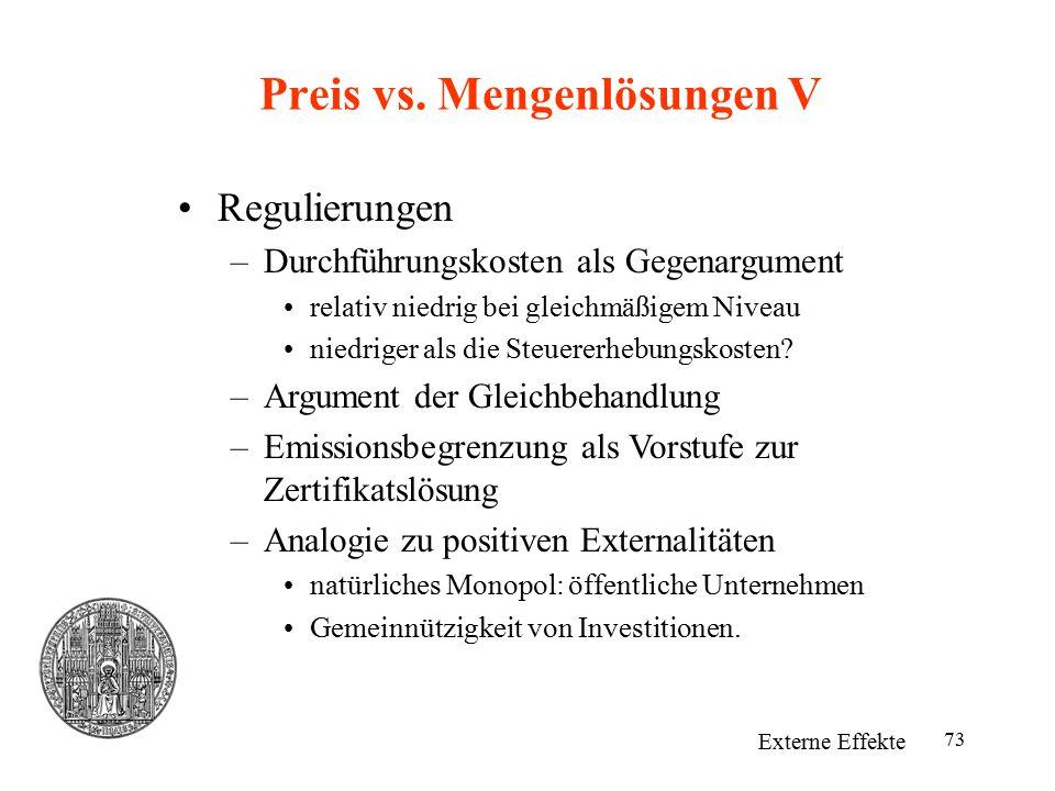 Preis vs. Mengenlösungen V