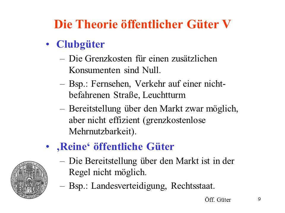 Die Theorie öffentlicher Güter V