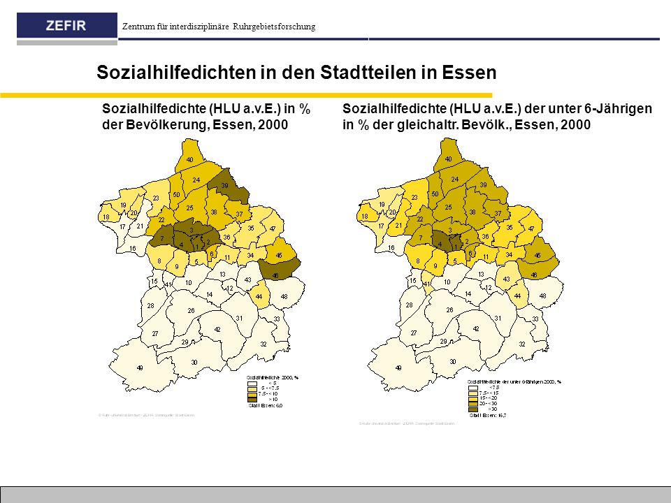 Sozialhilfedichten in den Stadtteilen in Essen