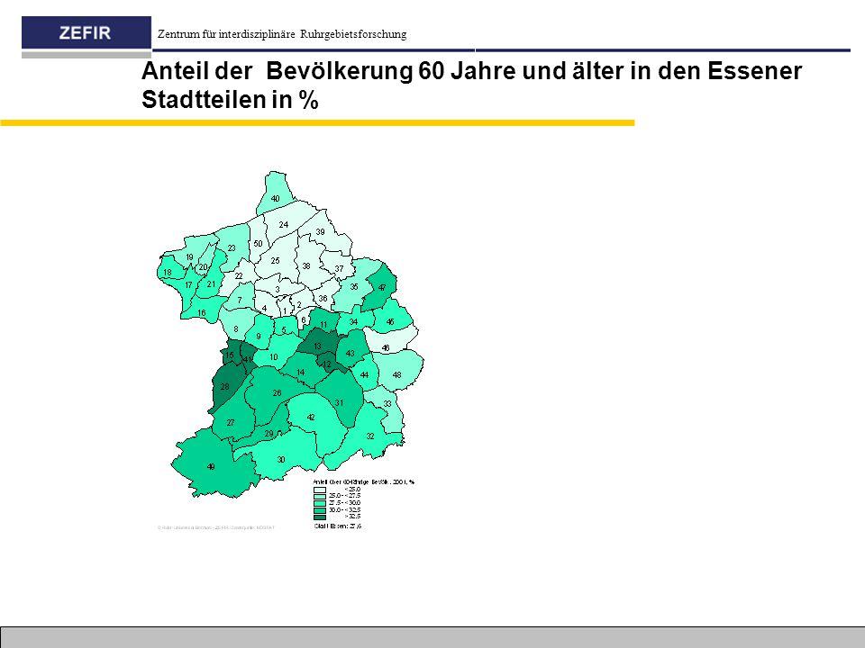 Anteil der Bevölkerung 60 Jahre und älter in den Essener Stadtteilen in %