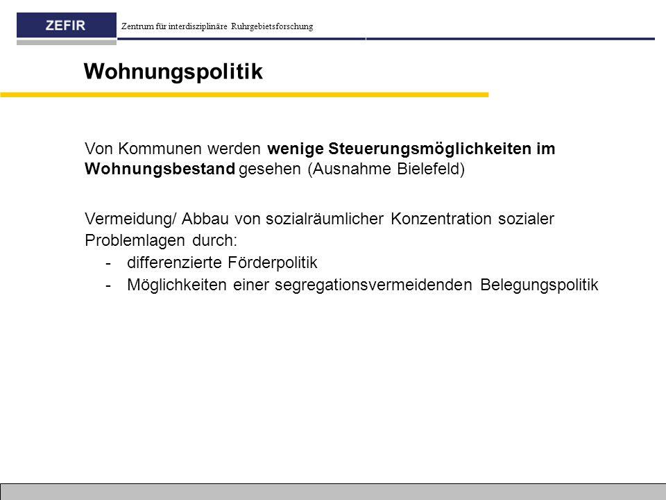 Wohnungspolitik Von Kommunen werden wenige Steuerungsmöglichkeiten im Wohnungsbestand gesehen (Ausnahme Bielefeld)