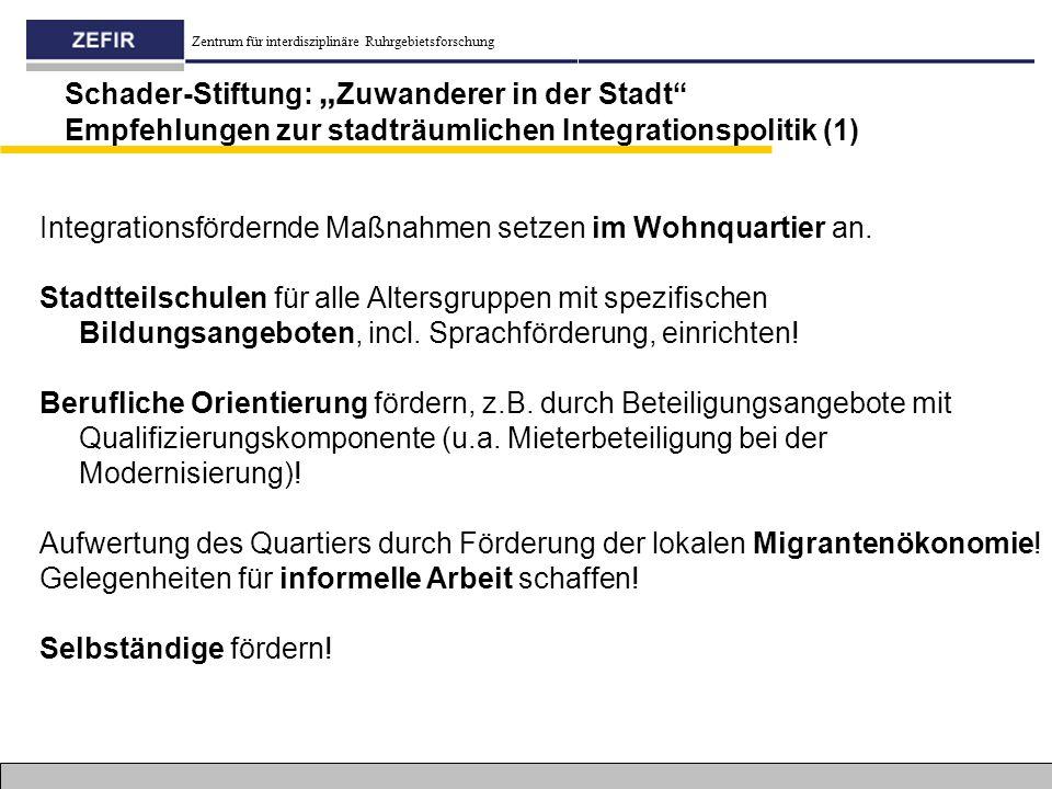 """Schader-Stiftung: """"Zuwanderer in der Stadt Empfehlungen zur stadträumlichen Integrationspolitik (1)"""