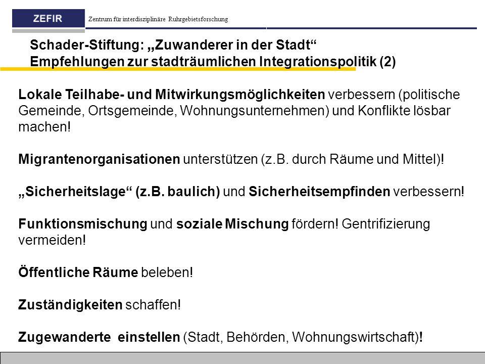 """Schader-Stiftung: """"Zuwanderer in der Stadt Empfehlungen zur stadträumlichen Integrationspolitik (2)"""