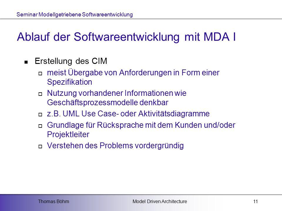 Ablauf der Softwareentwicklung mit MDA I