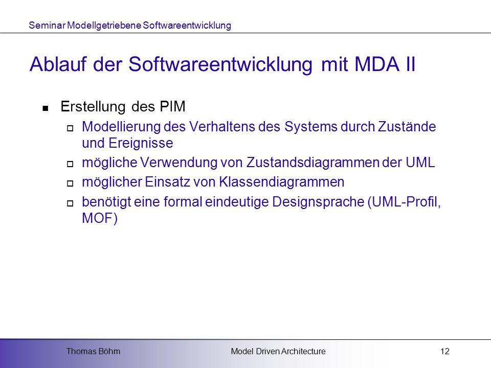 Ablauf der Softwareentwicklung mit MDA II