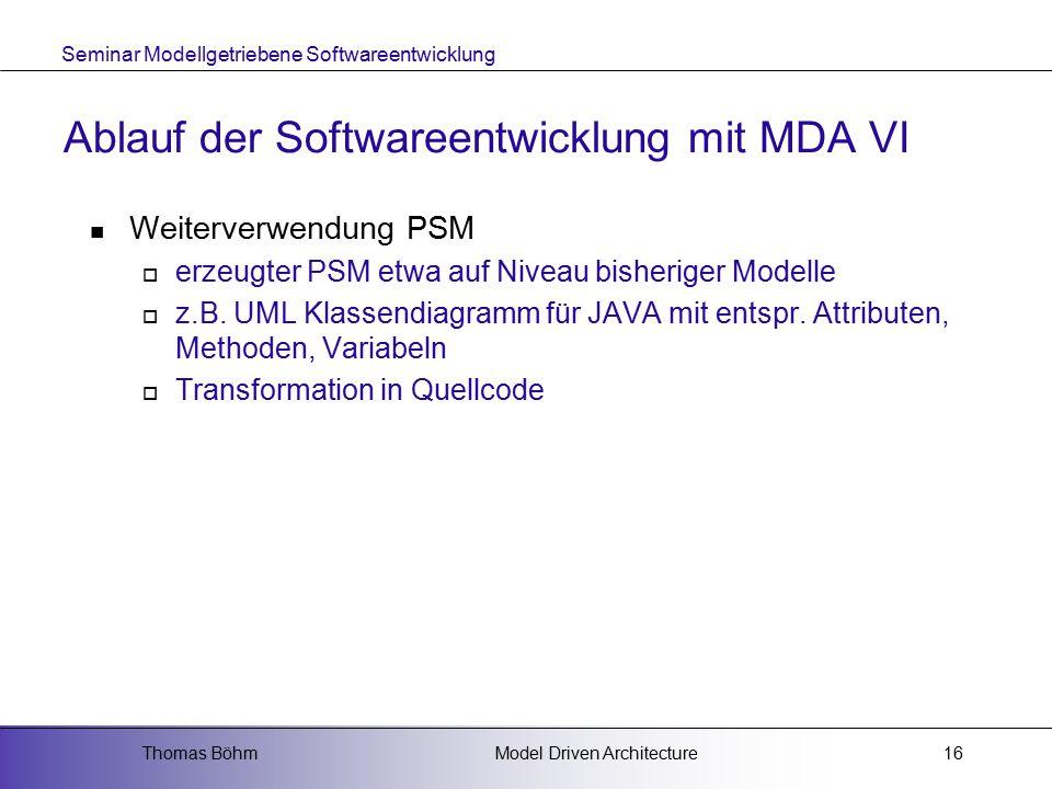 Ablauf der Softwareentwicklung mit MDA VI