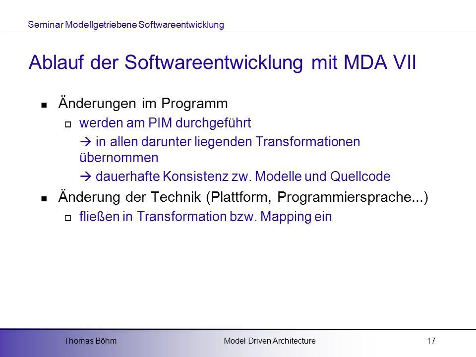 Ablauf der Softwareentwicklung mit MDA VII