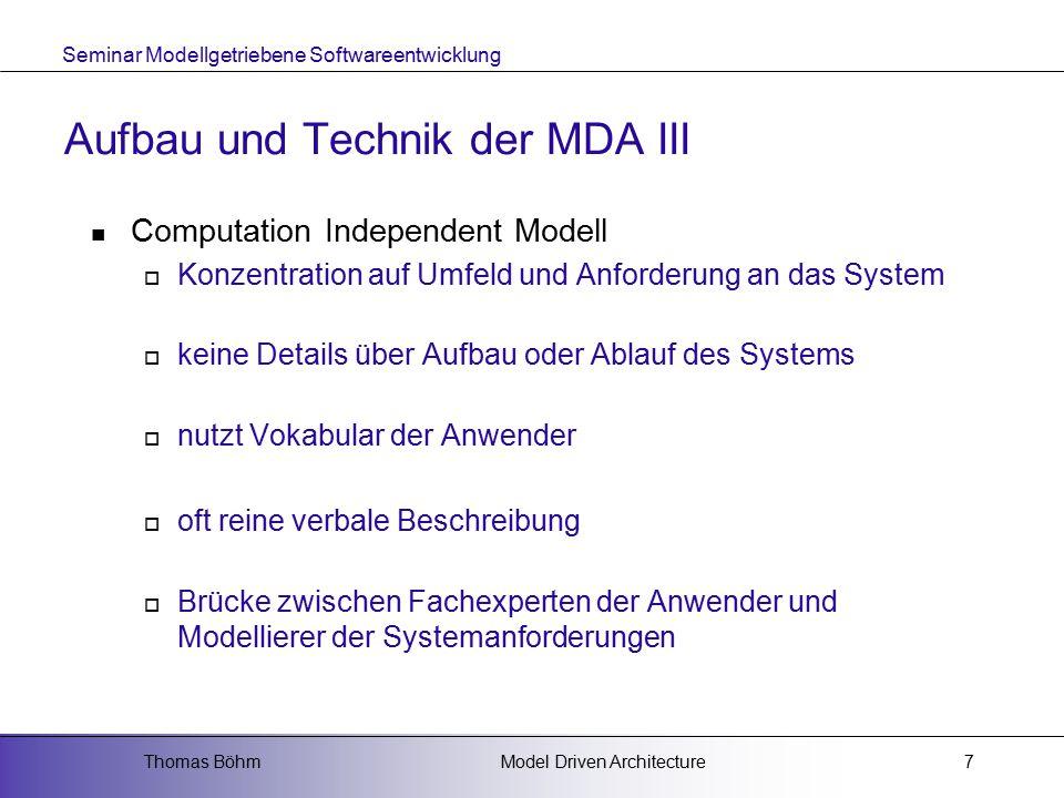 Aufbau und Technik der MDA III