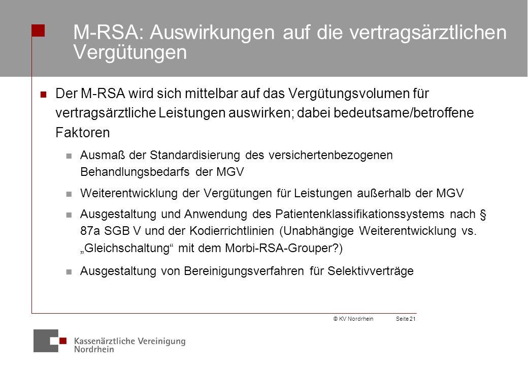 M-RSA: Auswirkungen auf die vertragsärztlichen Vergütungen