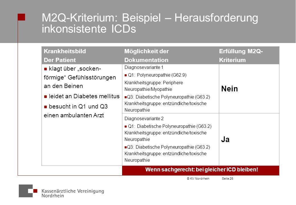 M2Q-Kriterium: Beispiel – Herausforderung inkonsistente ICDs