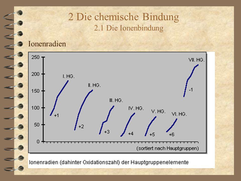2 Die chemische Bindung 2.1 Die Ionenbindung