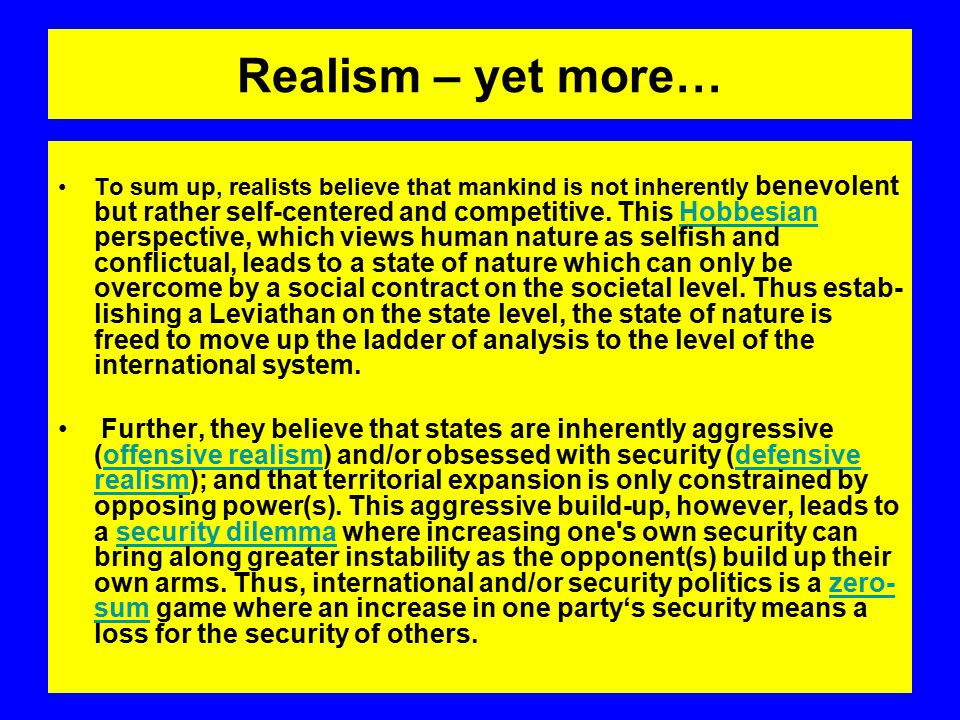 Realism – yet more…