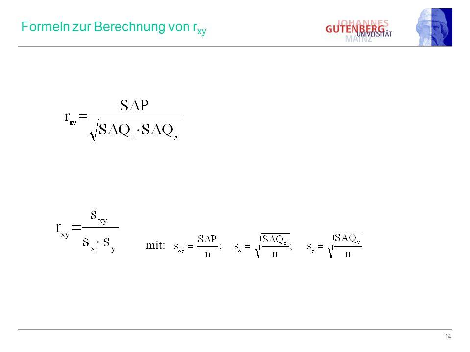 Formeln zur Berechnung von rxy