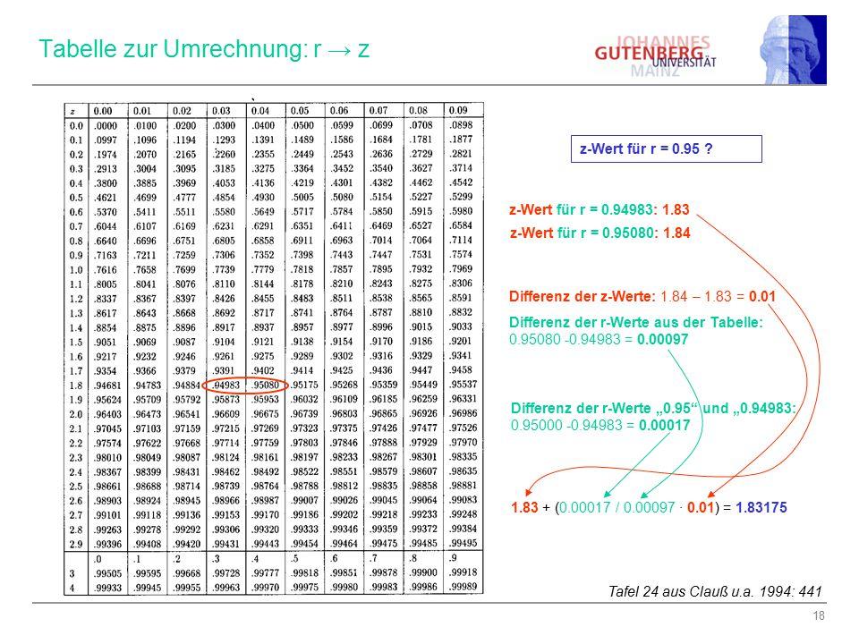 Phi koeffizient alternative berechnungsart ppt video - Sd wert tabelle ...