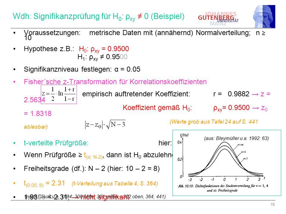 Wdh: Signifikanzprüfung für H0: ρxy ≠ 0 (Beispiel)