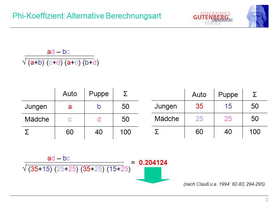 Phi-Koeffizient: Alternative Berechnungsart