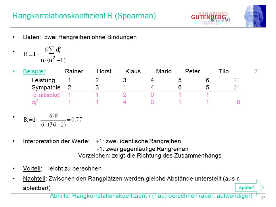 Rangkorrelationskoeffizient R (Spearman)